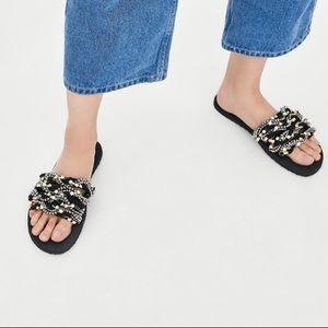 Zara Beweled Slide sandals Black